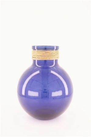 Szklany wazon niebieski 24x31cm